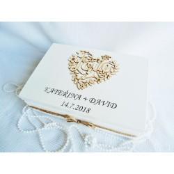 Svatební truhla bílá - LOVE